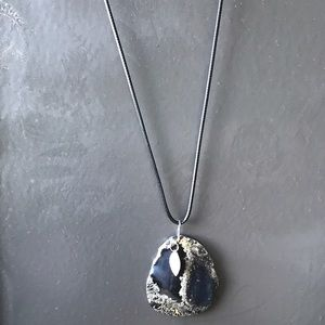 Agate Necklace on Black Rope Chain.